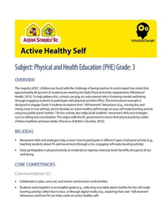 Active Healthy Self Subject Physical And Health Education Phe